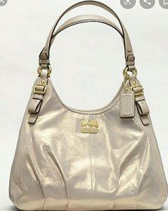 Rare☆ COACH Metallic Gold Shimmer Maggie Hobo